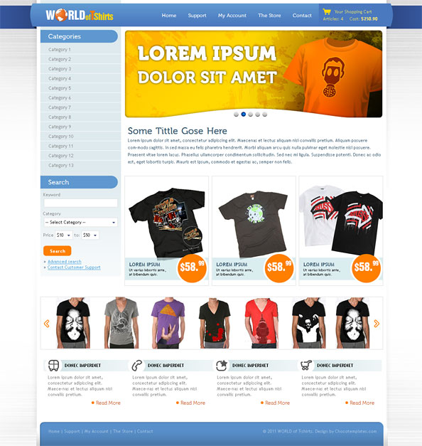 World of t shirts free ecommerce website css template for for T shirt ecommerce website