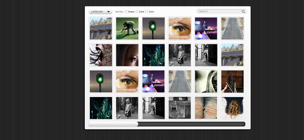 Free Gallery Website CSS Template with Horizontal Slider