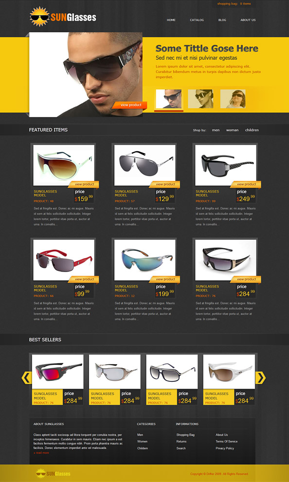 free ecommerce css template for sunglasses online shop website css templates. Black Bedroom Furniture Sets. Home Design Ideas