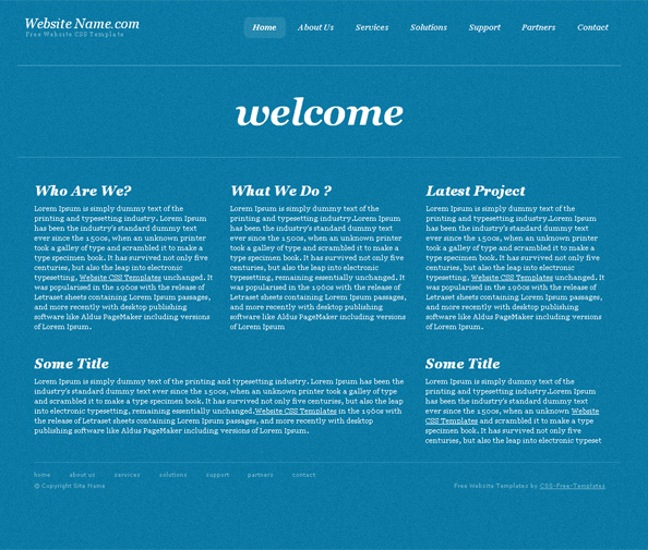 Simple blue website css template in business style website css templates for Simple html css templates