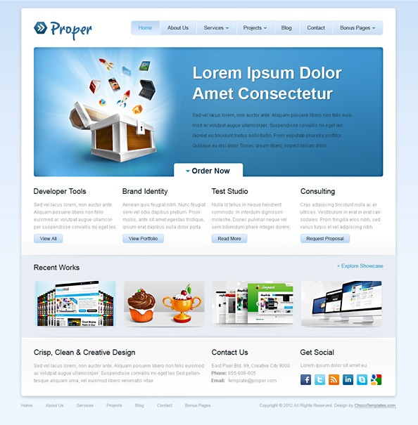 Free Website CSS Template - Proper - Website CSS Templates